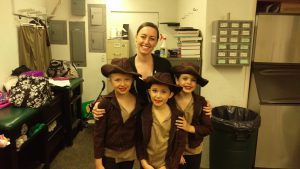 Miss Lindsay with our Indiana Jones dancers at CYAA All Star Basketball games.