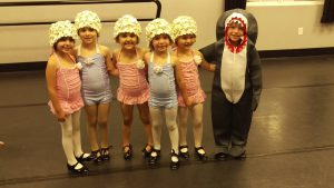Our Tuesday morning combo class trying on their costumes for their Jaws dance!  Aren't they cute!